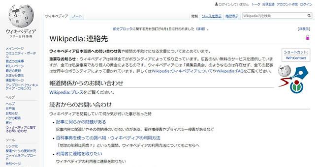 Wikipedia連絡先