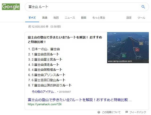 「関連する検索キーワード」の「富士山 ルート」をクリックすると、以下の画面に切り替わります